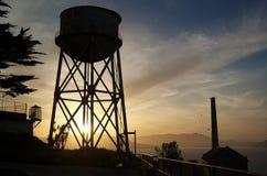 Sonnenuntergang über Alcatraz Lizenzfreies Stockfoto