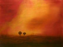 Sonnenuntergang über Bäumen Stockfoto