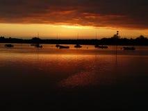 Sonnenuntergang über Bosham-Nebenfluss, Chichester-Hafen England, Großbritannien Lizenzfreies Stockfoto