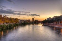 Sonnenuntergang über Castel vecchio in Verona, Italien. lizenzfreie stockfotografie
