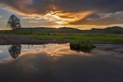 Sonnenuntergang über dem Fluss mit dem Baum, der im Wasser sich reflektiert Lizenzfreie Stockfotografie