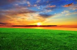 Sonnenuntergang über dem grünen Feld Lizenzfreie Stockfotografie