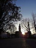 Sonnenuntergang über dem Hauptplatz von Prostejov-Stadt Lizenzfreie Stockfotografie