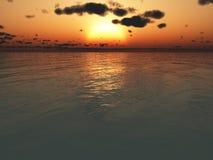 Sonnenuntergang über dem Ozean Lizenzfreie Stockbilder