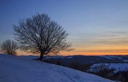 Sonnenuntergang über dem schneebedeckten Hügel Stockfotografie