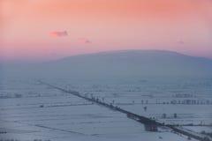 Sonnenuntergang über dem Tal Lizenzfreie Stockfotos