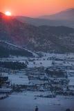 Sonnenuntergang über dem Tal Lizenzfreies Stockfoto