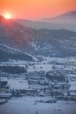 Sonnenuntergang über dem Tal Lizenzfreies Stockbild