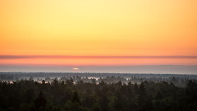 Sonnenuntergang über dem Wald im Nebel Lizenzfreies Stockbild