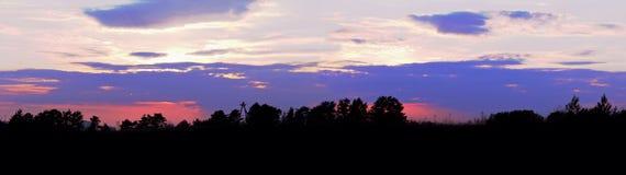Sonnenuntergang über dem Waldpanorama Stockfotografie