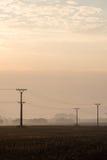 Sonnenuntergang über den Feldern im Nebel Stockbild
