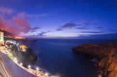 Sonnenuntergang über der Atlantikküste von Teneriffa, Icod de los Vinos Stockfoto