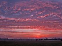 Sonnenuntergang über der Ebene stockfotos