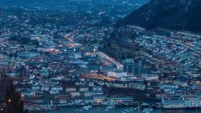 Sonnenuntergang über der Stadt. Bergen, Norwegen. Zeitspanne stock video