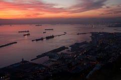 Sonnenuntergang über der Stadt von Gibraltar Stockfotografie