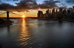 Sonnenuntergang über einem Manhattan stockfoto