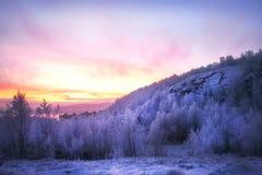 Sonnenuntergang über einem schneebedeckten Berg, dem Wald und der Bucht stockbilder