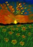 Sonnenuntergang über einer Blumen-Wiese - Acrylmalerei Lizenzfreie Stockfotos