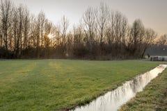 Sonnenuntergang über eisigem Wasser auf den Landgebieten im Winter, Lombardei Lizenzfreie Stockfotografie