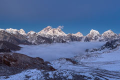 Sonnenuntergang über Everest-Berg, Panoramablick von Lizenzfreies Stockbild
