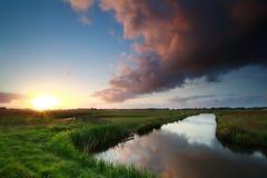Sonnenuntergang über Fluss auf niederländischem Ackerland Stockfoto