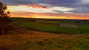 Sonnenuntergang über Grafschaft Durham Stockbilder