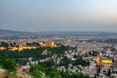 Sonnenuntergang über Granada Stockbild