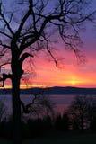 Sonnenuntergang über Hudson lizenzfreie stockbilder
