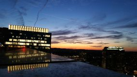 Sonnenuntergang über im Stadtzentrum gelegenem Austin Stockbild