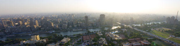 Sonnenuntergang über Kairo und Nil Stockfoto