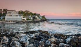 Sonnenuntergang über Linekin-Bucht im Ozean-Punkt, Maine Lizenzfreies Stockbild