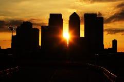 Sonnenuntergang über London im Stadtzentrum gelegen Lizenzfreie Stockfotografie