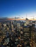 Sonnenuntergang über Manhattan Stockfotografie