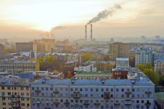 Sonnenuntergang über Moskau Stockfotos