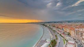 Sonnenuntergang über Nizza Stadt und Mittelmeer Luft-timelapse stock footage