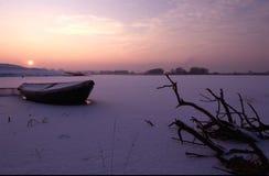 Sonnenuntergang über Oude Waal in Nijmegen Lizenzfreie Stockfotografie
