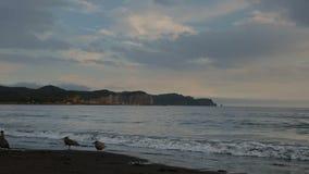 Sonnenuntergang über Pazifischem Ozean in der Bucht Zavoiko stock footage