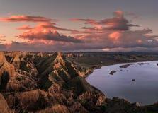 Sonnenuntergang über Sandstein stockbild