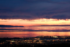 Sonnenuntergang über Santa Barbara Lizenzfreies Stockbild