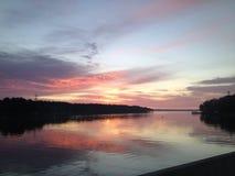 Sonnenuntergang über See Eufaula Stockbild