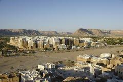Sonnenuntergang über Shibam, der Jemen Stockfotografie