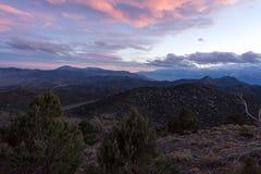 Sonnenuntergang über Sierra Nevada stockfoto