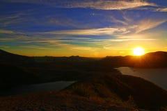 Sonnenuntergang über Spirit See und Mt St Helens Lizenzfreie Stockbilder