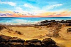 Sonnenuntergang über Strand vektor abbildung