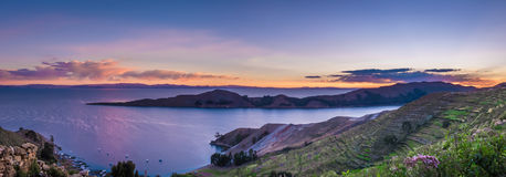 Sonnenuntergang über Titicaca See, Isla del Sol - Bolivien Stockbild