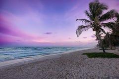 Sonnenuntergang über Tulum-Strand stockbilder