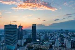 Sonnenuntergang über Warschau Lizenzfreie Stockfotografie