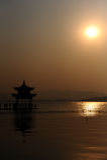 Sonnenuntergang über Westsee Lizenzfreies Stockbild