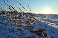 Sonnenuntergang über Winterlandschaft Stockfotos