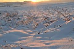 Sonnenuntergang über Winterlandschaft Lizenzfreies Stockfoto